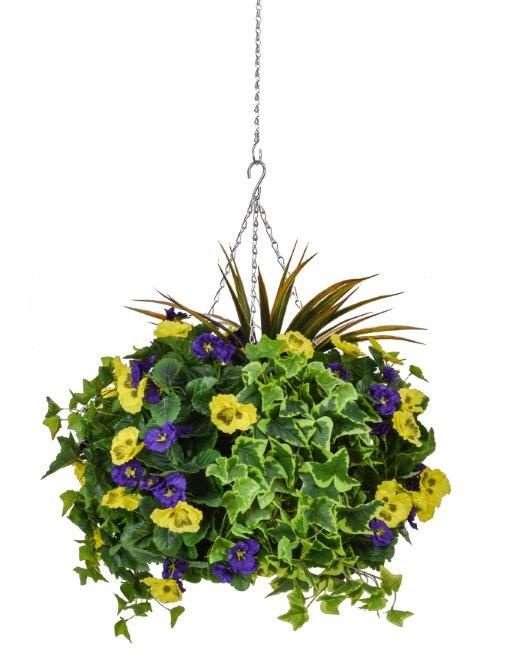 D40cm Deluxe Large Artificial Hanging Basket - Purple & Yellow Pansy