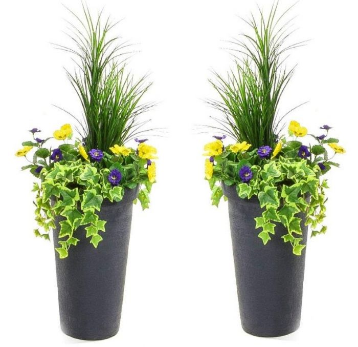 Pair of H110cm Large Artificial Planter - Purple & Yellow Pansy With Cedar