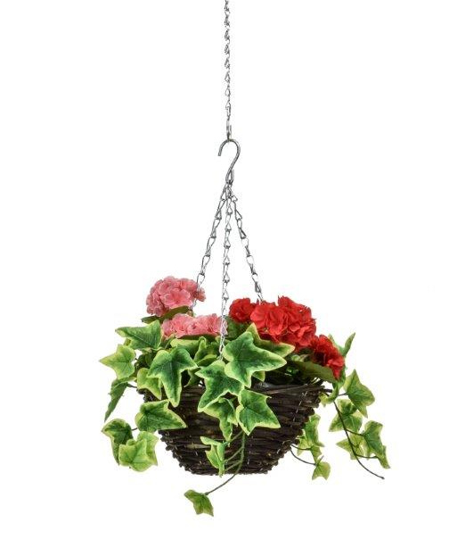 D25cm Deluxe Small Artificial Hanging Basket - Pink & Red Geranium