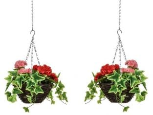 Pair of D25cm Deluxe Small Artificial Hanging Baskets - Pink & Red Geranium