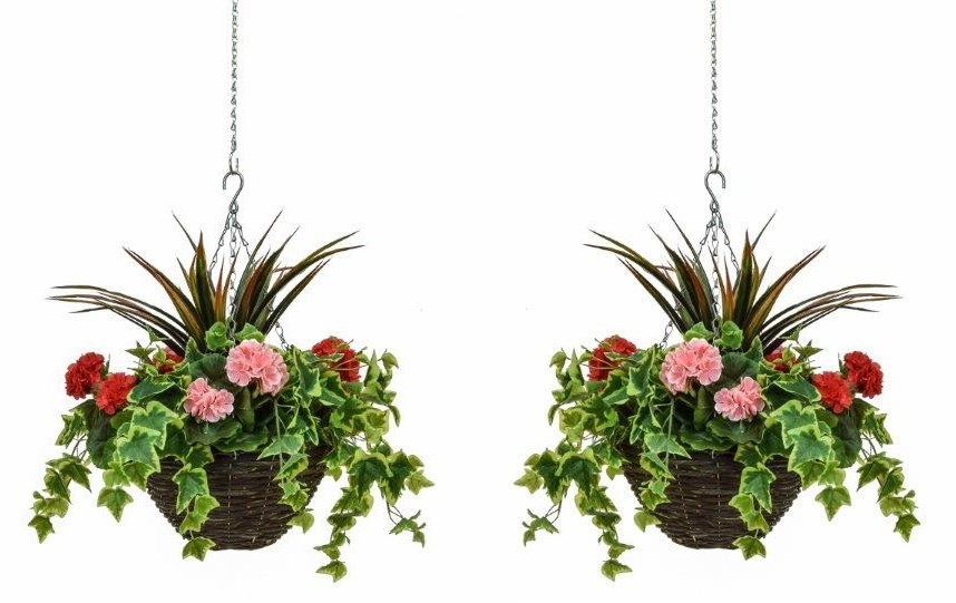 Pair of D30cm Deluxe Medium Artificial Hanging Baskets - Pink & Red Geranium