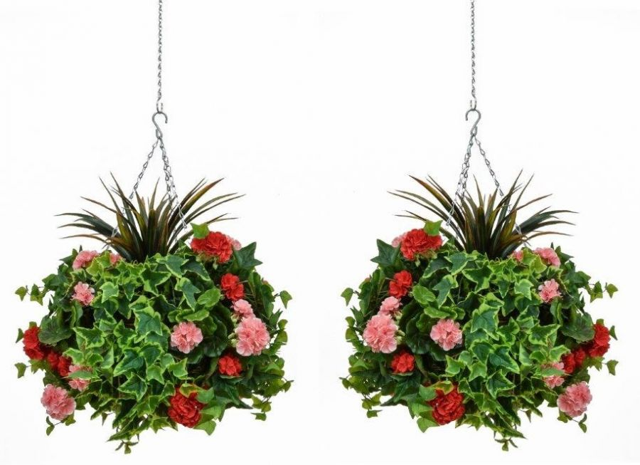 Pair of D40cm Deluxe Large Artificial Hanging Baskets - Pink & Red Geranium