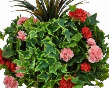 D40cm Deluxe Large Artificial Hanging Basket - Pink & Red Geranium