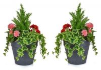Pair of H60cm Medium Artificial Planter - Pink & Red Geranium With Cedar