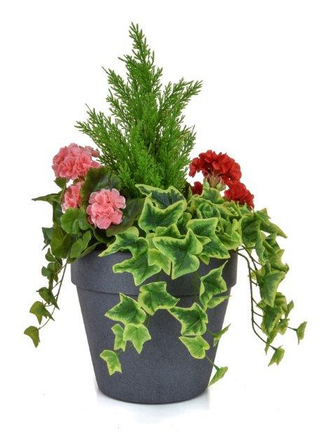 H60cm Medium Artificial Planter - Pink & Red Geranium With Cedar