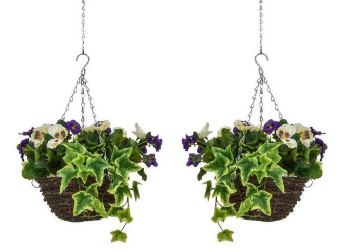 Pair of D25cm Deluxe Small Artificial Hanging Baskets - Purple & White Pansy