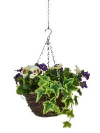 D25cm Deluxe Small Artificial Hanging Basket - Purple & White Pansy