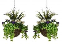 Pair of D30cm Deluxe Medium Artificial Hanging Baskets - Purple & White Pansy
