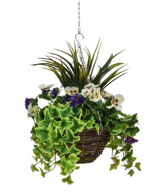 D30cm Deluxe Medium Artificial Hanging Basket - Purple & White Pansy