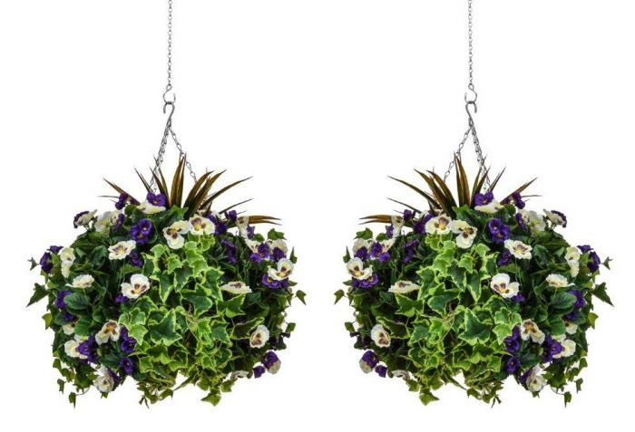 Pair of D40cm Deluxe Large Artificial Hanging Baskets - Purple & White Pansy