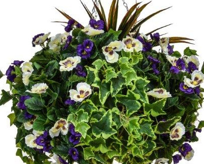 D40cm Deluxe Large Artificial Hanging Basket - Purple & White Pansy