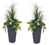 Pair of H110cm Large Artificial Planter - Purple & White Pansy With Cedar