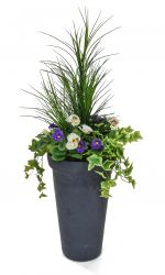 H110cm Large Artificial Planter - Purple & White Pansy With Cedar