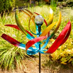 Bird of Paradise Wind Spinner with Solar Crackle Globe W65cm  by Primrose®