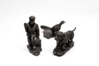 Hunting Scene Bronze Pot Feet - Set of 3