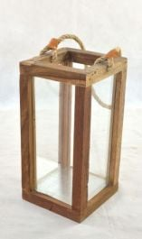 Large Outdoor Teak Garden Lantern with Glass - 40 x 21cm