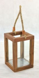 Small Outdoor Teak Garden Lantern with Glass - 31 x 21cm