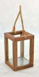 Pair of Small Outdoor Teak Garden Lanterns with Glass - 31 x 21cm