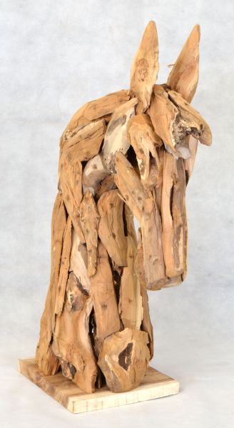Outdoor Horse Head Recycled Wooden Sculpture 163 120 00