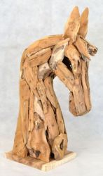 Outdoor Horse Head Recycled Wooden Sculpture