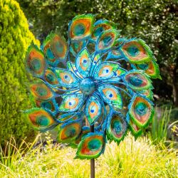 Peacock Wind Spinner with Solar Crackle Globe Dia 64cm by Primrose®