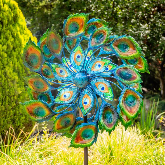 Peacock Wind Spinner with Solar Crackle Globe Dia 64cm by Primrose™