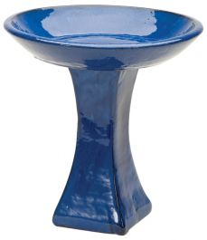 H39cm Blue Glazed Ceramic Bird Bath