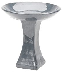 39cm Glazed Ceramic Mirror Bird Bath