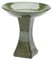 39cm Glazed Ceramic Green Bird Bath