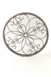 1ft 8in Round Ornate Metal Garden Glass Mirror