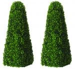 Pair of 60cm Artificial Topiary Tree by Primrose® - 'The Buxus Obelisk'