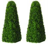 Pair of 60cm Artificial Topiary Boxwood Obelisks by Gardman