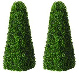 Pair of 60cm Artificial Topiary Tree by Primrose™ - 'The Buxus Obelisk'