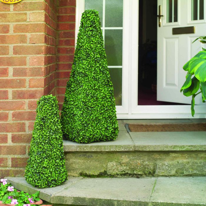 Pair of 60cm Solar LED Artificial Topiary Tree by Primrose™ - 'The Buxus Obelisk'