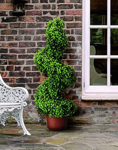 artificial potted boxwood topiary swirl 80cm 39 99