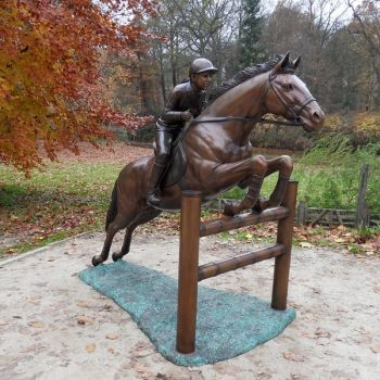 Bronze 6ft Jumping Horse and Jockey Statue