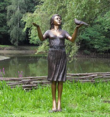 Bronze Woman With Pigeon Statue H1.74m