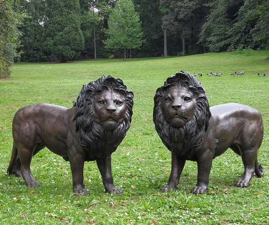 Pair of Bronze Lion Statues H1m