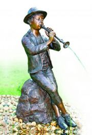 Big Boy With Clarinet Water Feature Statue