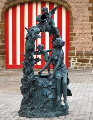 Woman And Angels On Wishing Well Statue