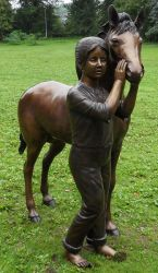 Girl And Pony Statue