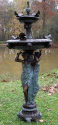 3 Woman With Birds Fountain Statue