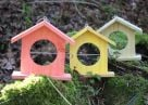 Set of 3 Wooden Bird Feeders - Red/Green/Yellow