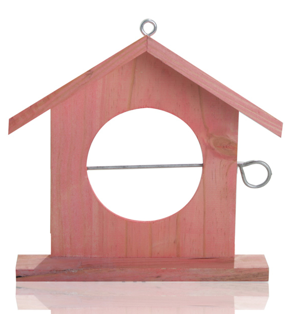 Wooden Bird Feeder in Red