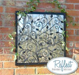 60cm 'Tree of Life' Metal Framed Acrylic Garden Mirror - by Reflect™