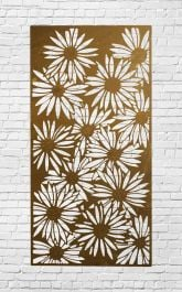Decorative Garden Fencing Panel With Daisy Pattern in Mild Steel 5ft10in