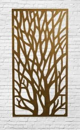 Decorative Garden Fencing Panel With Tree Pattern in Corten Steel 5ft10in