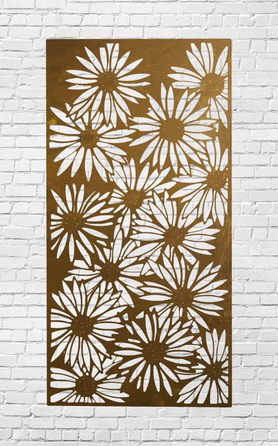 Decorative Garden Fencing Panel With Daisy  Pattern in Corten Steel 5ft10in