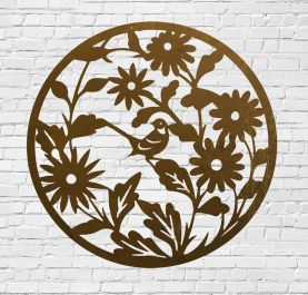 Decorative Wall Panel with Woodland Pattern in Corten Steel 90cm(2ft 11in)Diam