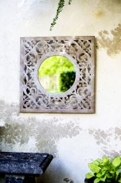 60cm x 60cm - Decorative Stone Effect Glass Square Garden Mirror - La Hacienda